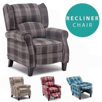 £219.99 • Buy Eaton Wing Back Fireside Check Fabric Recliner Armchair Sofa Lounge Cinemo Chair