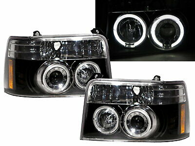 AU557.99 • Buy F150 F250 F350 1992-1996 LED Angel-Eye Projector Headlight Black For FORD RHD
