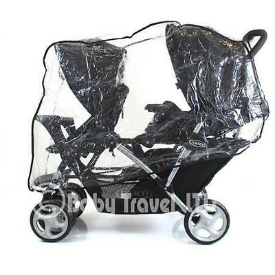 Tandem Raincover For Hauck Tandem Disney Pooh Stroller Double Buggy Rain Cover • 13.95£