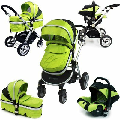 £179.95 • Buy SALE!!! ISafe 3 In 1 Pram System - Lime Travel System + Carseat