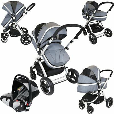 £199.95 • Buy ISafe 3 In 1 - Grey (With Car Seat) Travel System Pram Options