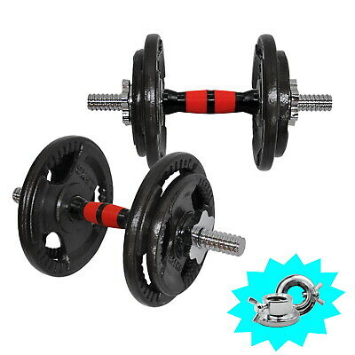 AU75.20 • Buy 18.5kg Cast Iron Weight Plate Dumbell Set - 35cm Dumbell Bar - Home Gym Weights