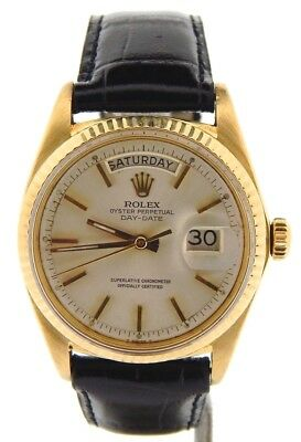 $ CDN9022.02 • Buy Mens Rolex Day-Date President Solid 18K Yellow Gold Watch Black Band Silver 1803