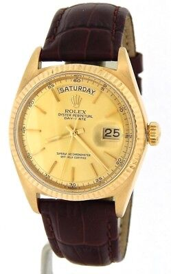 $ CDN9690.32 • Buy Mens Rolex Day-Date President 18K Yellow Gold Watch Brown Band Champagne 1803