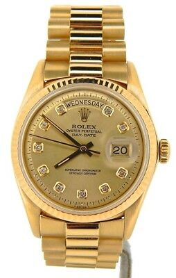$ CDN16667.54 • Buy Mens Rolex Day-Date President 18K Yellow Gold Watch Champagne Diamond Dial 1803