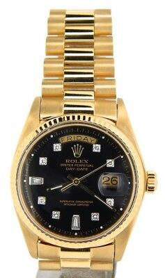$ CDN16667.54 • Buy Mens Rolex Day-Date President 18KT 18K Yellow Gold Watch Black Diamond Dial 1803