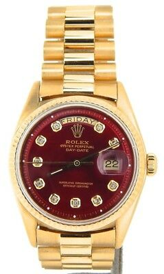 $ CDN16667.54 • Buy Mens Rolex Day-Date President 18KT 18K Yellow Gold Watch Red Diamond Dial 1803