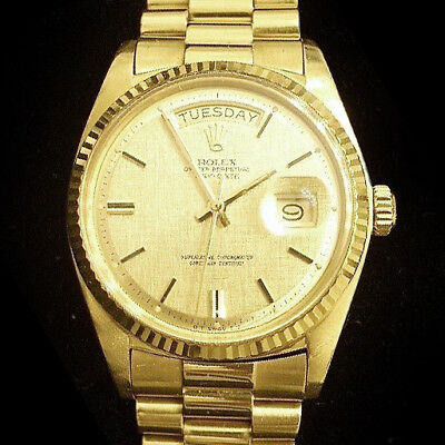 $ CDN17623.87 • Buy Mens Rolex Day-Date President Solid 18K Yellow Gold Watch Linen Dial Fluted 1803