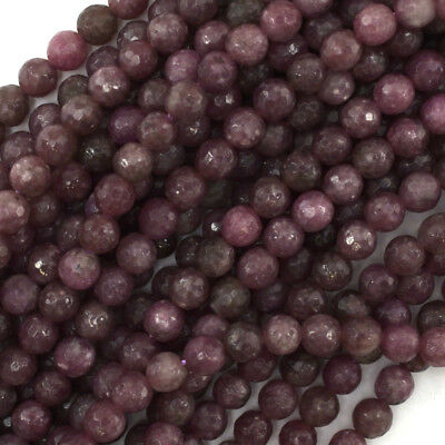 $10.99 • Buy Faceted Purple Lepidolite Round Beads Gemstone 15.5  4mm 6mm 8mm 10mm 12mm
