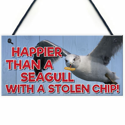 Happier Seagull Funny Nautical Seaside Theme Gift Hanging Plaque Bathroom Sign • 3.99£