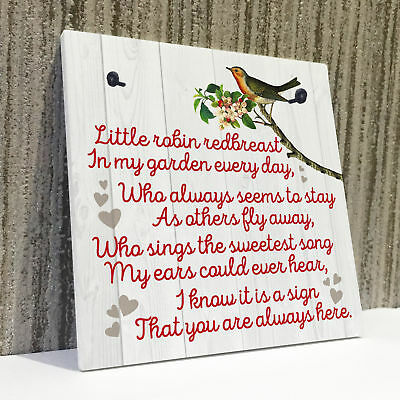 £3.99 • Buy Robin Redbreast Memorial Bereavement Family Love Hanging Plaque Grave Gift Sign