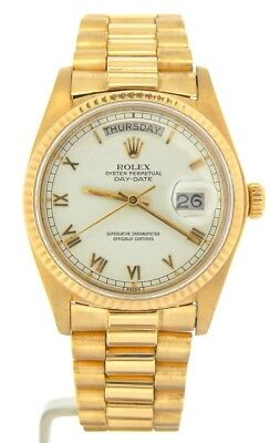 $ CDN18127.41 • Buy Mens Rolex Day-Date President Solid 18K Yellow Gold Watch White Roman Dial 18038