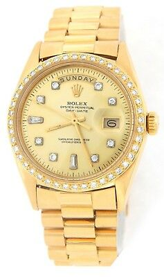 $ CDN19111.28 • Buy Mens Rolex Day Date President 18k Yellow Gold Watch Diamond Dial 1ct Bezel 1803