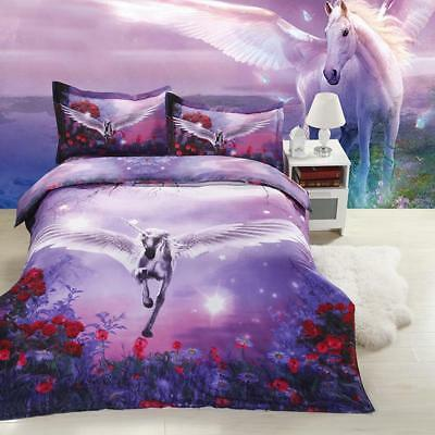 AU19.99 • Buy Unicorn Animal Floral Duvet/Doona/Quilt Cover Set Double/Queen/King Size Bedding