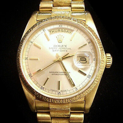 $ CDN18390.84 • Buy Mens Rolex Day-Date President Solid 18k Yellow Gold Watch Bark Silver Dial 18078