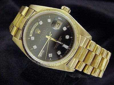 $ CDN18860.64 • Buy Mens Rolex Day-Date President Solid 18k Gold Watch Bark Black Diamond Dial 18078
