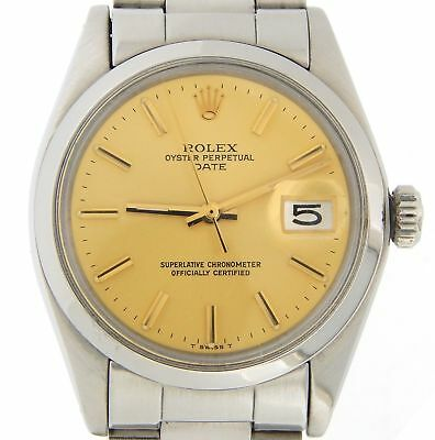 $ CDN3990.99 • Buy Mens Rolex Date Stainless Steel Watch Domed Bezel Gold Champagne Stick Dial 1500