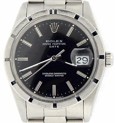 $ CDN4789.49 • Buy Mens Rolex Date Stainless Steel Watch Oyster Band Black Dial Engine-Turned 15010