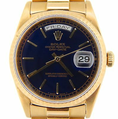 £12350.92 • Buy Mens Rolex Day-Date President Solid 18KT 18k Yellow Gold Watch Black Dial 18238