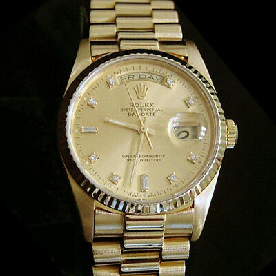 $ CDN20364.48 • Buy Mens Rolex 18k Yellow Gold Day Date President Watch FACTORY Diamond Dial 18038