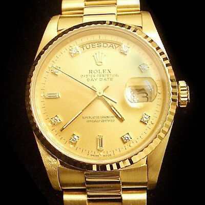 $ CDN22620.24 • Buy Mens Rolex Solid 18k Gold Day-Date President Watch FACTORY Diamond Dial 18238