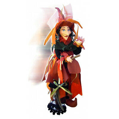 Witches Of Pendle - Klaudia Witch Flying (Orange, Black & Green) 45cm • 24.95£