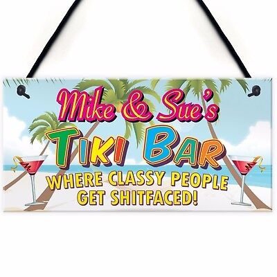 £6.99 • Buy Personalised Tiki Bar Beach Cocktails Alcohol Hanging Plaque Friend Gift Sign
