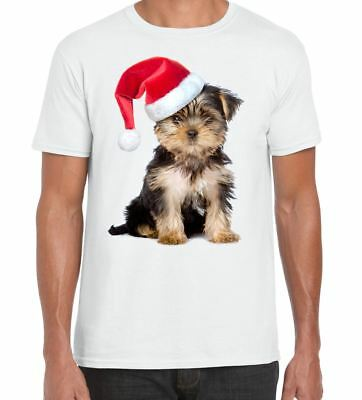 Yorkshire Terrier With Santa Claus Hat Christmas Men's T-Shirt • 11.99£