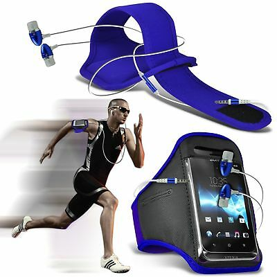 Quality Armband Phone Case+In Ear Headphones Headset✔Sports Accessory Pack✔Blue • 6.95£
