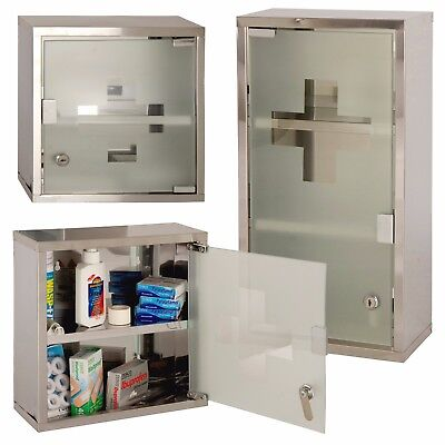 Wall Mounted Lockable Stainless Steel Medicine Cabinet First Aid Cupboard Box • 21.99£