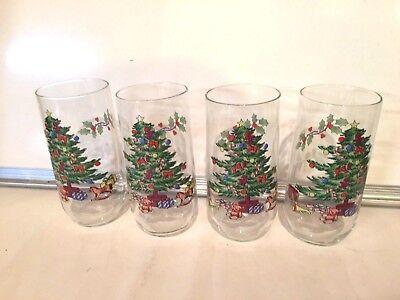 $14.99 • Buy HOLIDAY HOSTESS Christmas Tree Set Of 4 Cooler Glass