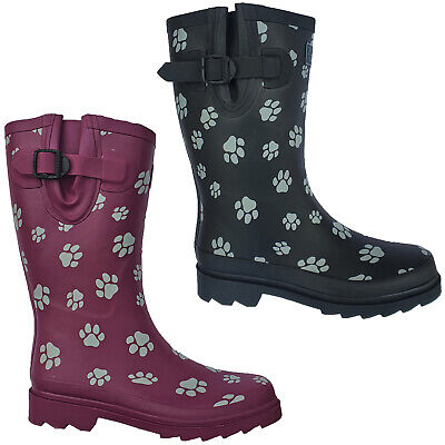TOSH Wellingtons Short Calf Dog Paw Half Womens Rubber Wellies Boots UK 3-9 • 18.95£