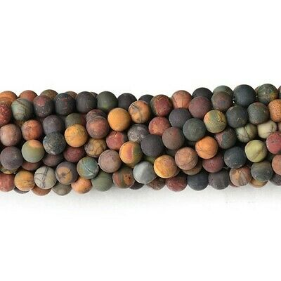 £6.19 • Buy Multicolour Picasso Jasper Beads Plain Round 8mm Frosted Strand Of 40+