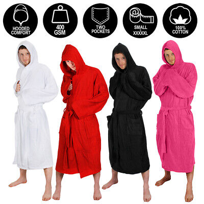 Mens Hooded Bathrobe 100% Cotton Present Adults Gift Dressing Gown Robe M-5xl • 22.99£