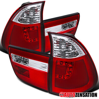 $198.99 • Buy For 2000-2006 BMW X5 E53 Pair Red/Clear LED Tail Lights Lamps W/ Neon Tube DRL