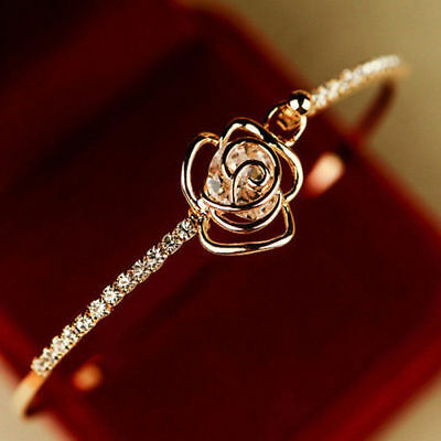 $0.99 • Buy Elegant Women's Crystal Rose Flower Bangle Cuff Bracelet Jewelry Gold