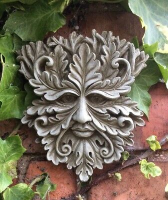 £12.50 • Buy 🇬🇧stone Garden Small Leafy Green Man Face Wall Plaque Hanging Pagan🌿🍂