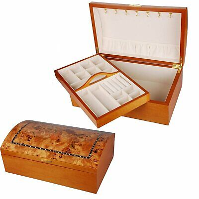 Extra Large Oak Wood Finish Chest Jewellery Box - Oriental Rose Design • 38.99£