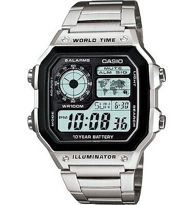 $ CDN36.68 • Buy Casio AE1200WHD-1A Men's Stainless Steel World Time 5 Alarms Chronograph Watch