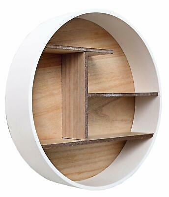 Round Wooden Wall Shelf Unit Display Storage Rack Shelves Books Shelving Stand • 24.47£