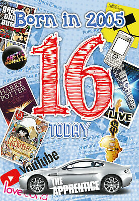 £3.25 • Buy 16th Birthday Card 2005 Year You Were Born Male Year Facts Inside Card