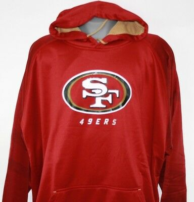 a22a2f02c NEW Mens NFL Majestic Therma Base San Francisco 49 ers Poly Fleece Red  Hoodie •