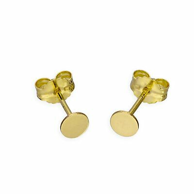 £41 • Buy Real 375 9ct Gold Flat Circle Stud Earrings Round Disc Butterfly Backs Studs