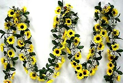 $15.95 • Buy Sunflower Garland Silk Flowers Wedding Arch Backdrop Table Runner Artificial