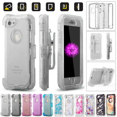 AU16 • Buy Rugged Heavy Duty Transparent Defender Cover Case + Belt Clip For Apple IPhone