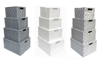 Lidded Grey White Woven Fabric A4 Paper Storage Box Hamper Basket Metal Handles • 8.99£