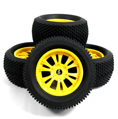 810019 1/8 Scale Off Road RC Monster Truck Wheels And Tyres X 4 Yellow V2 • 32.99£