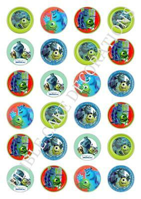 24 Monster Inc Edible Cupcake Fairy Cake Toppers Rice Paper Decoration Birthday • 1.99£
