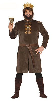 £19.99 • Buy Mens Medieval Costume Fancy Dress Tudor King Outfit Crown Belt Tunic M L XL NEW