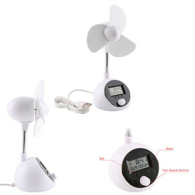 AU10.96 • Buy Portable 5 Speed Adjustable Cooler USB Fan With LCD Digital Clock Temperature